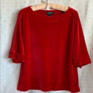Liz Claiborne career red velvet tunic blouse
